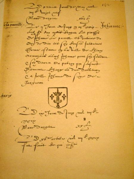 http://commons.wikimedia.org/wiki/File:1429_Charles_VII_Annoblisant_Jeanne_Darc.jpg