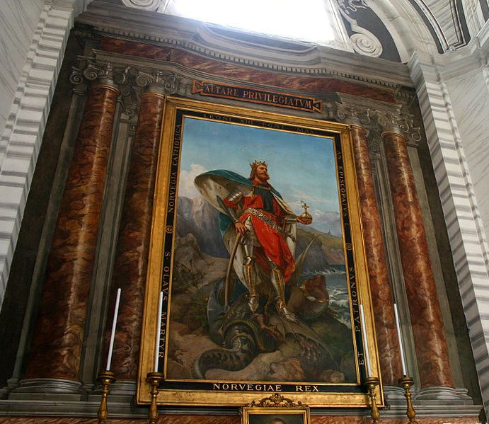Painting of St. Olaf in San Carlo al Corso, Rome. Photo by G.dallorto