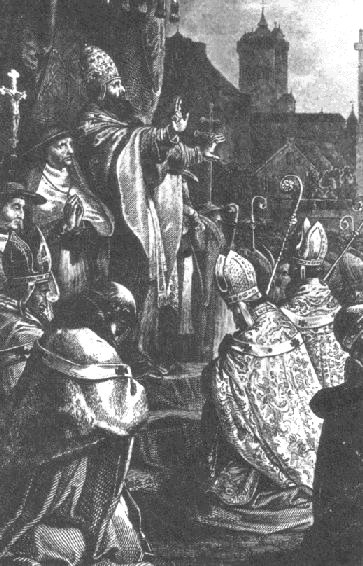 Pope Urban II preaches the First Crusade at the Council of Clermont.