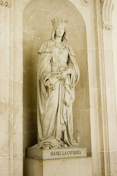 Statue of the Queen Isabelle the Catholic, in hallway inside the Palacio Real de Madrid (Royal Palace) in Madrid.