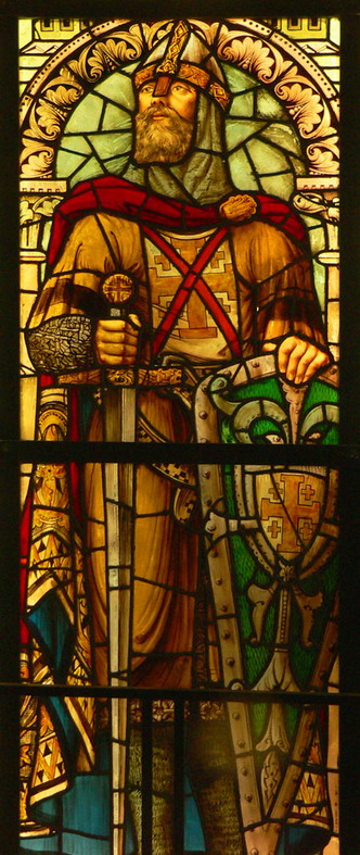 Stained glass window of Godfrey of Bouillon in the Belfry of Boulogne-sur-Mer, France.