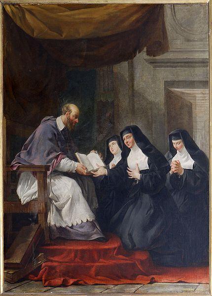 St. Francois de Sales giving the Rule of the Visitation to St. Jeanne de Chantal. Painting by Noël Hallé