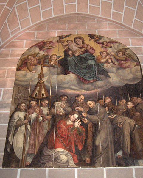 """St. Francis and profession of St. Clare"", painting by Francisco João, 1692; Cathedral of Évora, Portugal"