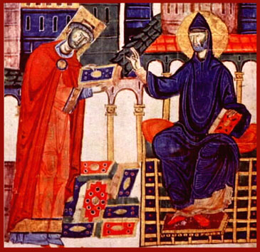 St. Benedict Bestows the Rule on Abbot Desiderius of Montecassino, later Pope Victor III, 11th c. MS illum.