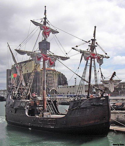 A replica of the Santa María, Columbus' flagship in 1492 seen in the harbour of Funchal, Madeira.