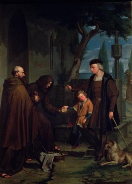 Christopher Columbus at the gates of the monastery of Santa Maria de la Rabida with his son Diego. Painting by Benito Mercade y Fabregas