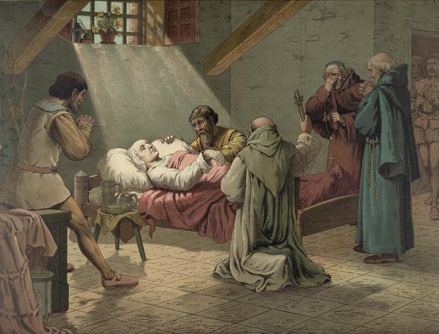 The death of Columbus. Lithograph by L. Prang & Co., 1893.