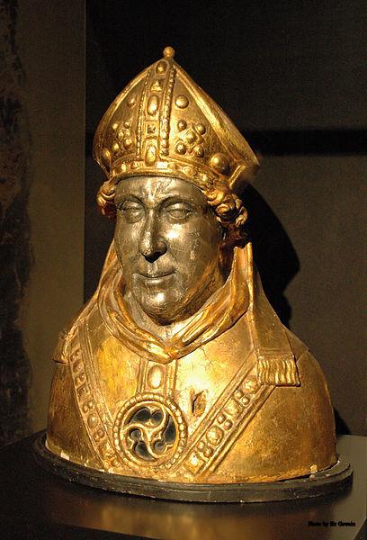 Gotisk relikviebyste av den hellige Engelbert av Köln, fra slutten på 1400-tallet i westfalsk treskjærerarbeid, forsølvet og forgylt