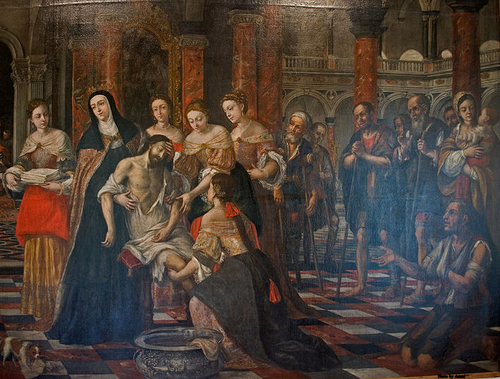 St. Elizabeth of Hungary taking care of the sick. Painting by Museo de Bellas Artes de Sevilla