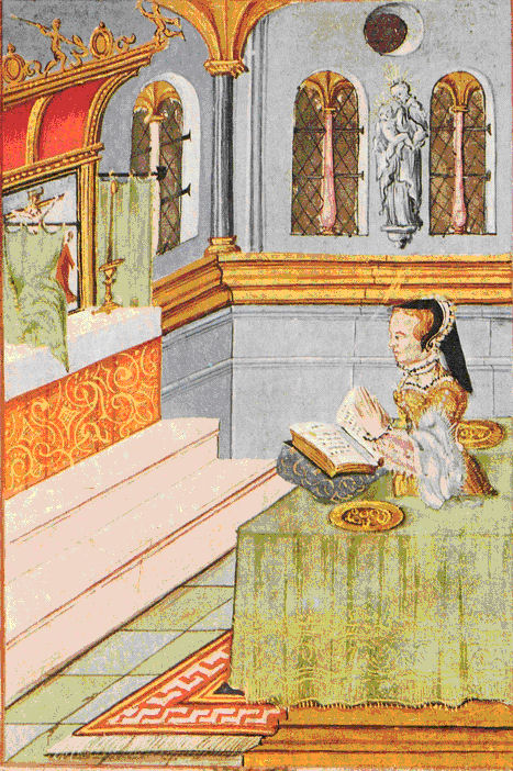 Queen Mary I praying before blessing the rings in the tray on her left. The illustration dates to her reign.