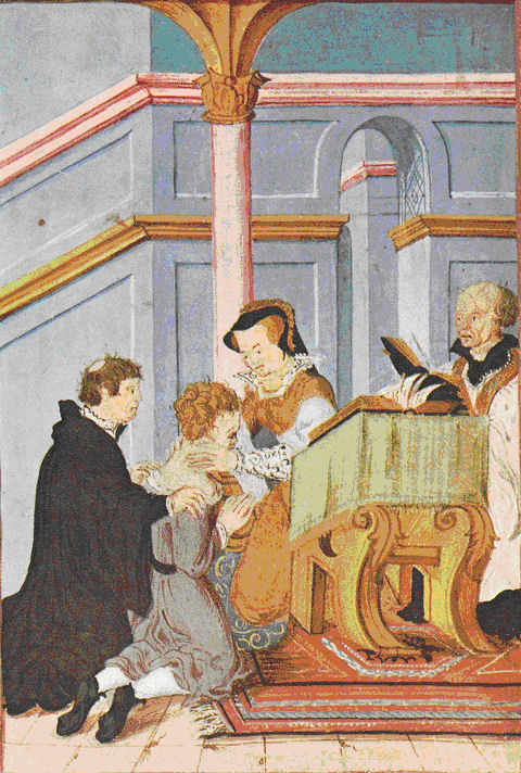 Queen Mary touching the sick with the golden coin called an angel. The illustration dates from Queen Mary's reign.