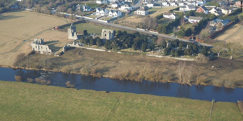 Arial view over the River Boyne, Trim, County Meath