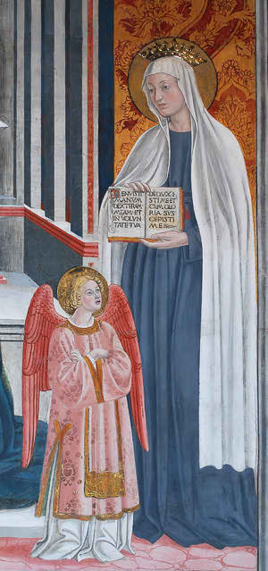 St. Frances of Rome with her Guardian Angel, who was continually visible to her.