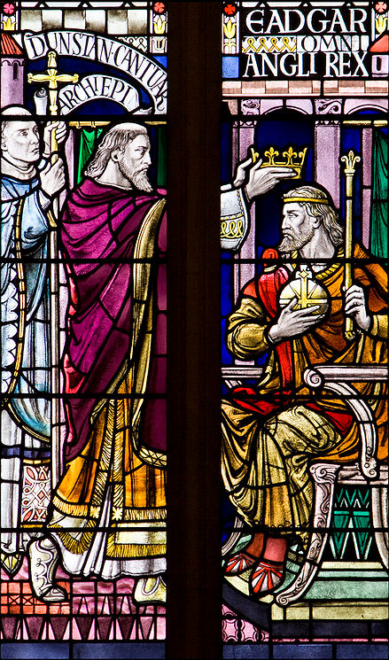 King Edgar of England being crowned by St. Dunstan, Archbishop of Canterbury. Edgar was crowned by Dunstan at Bath, and the service, devised by St. Dunstan himself, forms the basis of the present-day British coronation ceremony.