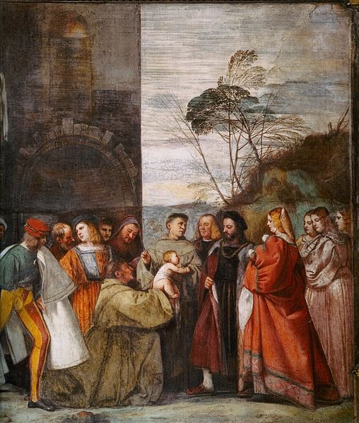 Miracle of the newborn child speaking. Painting by Titian