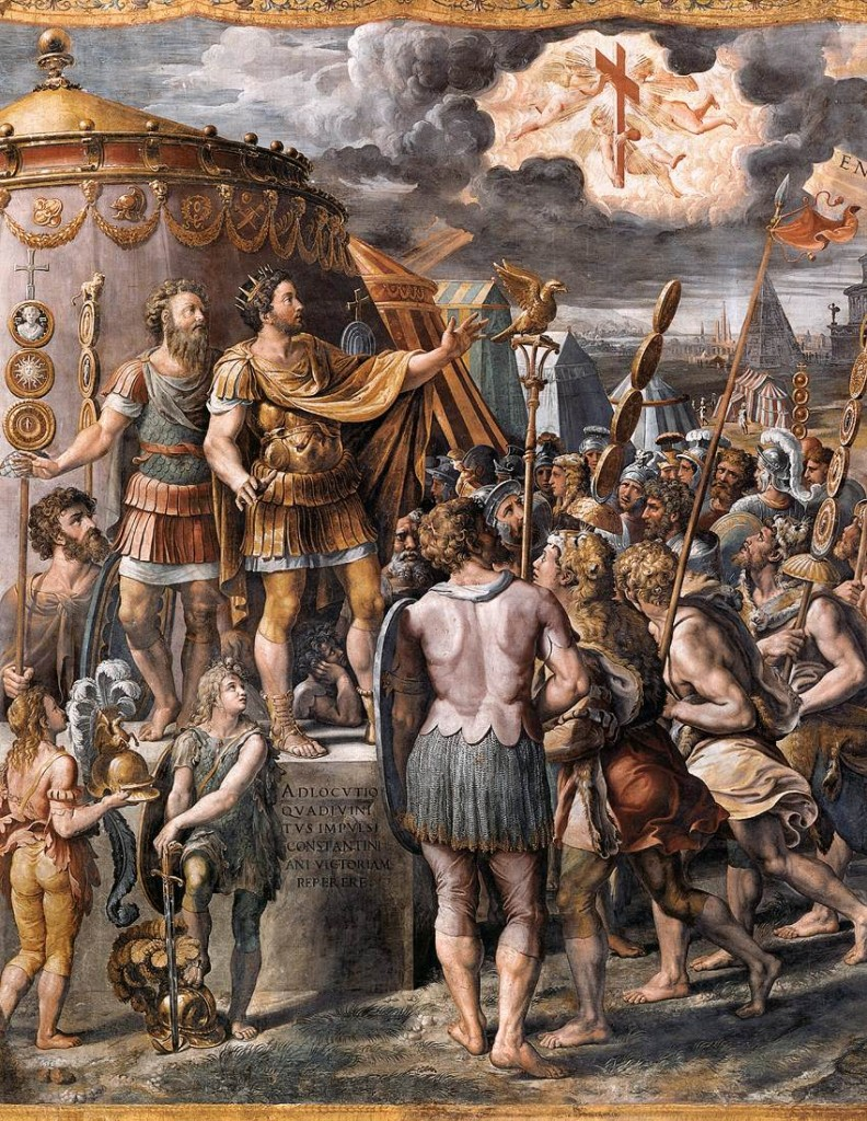 """The vision of the Cross appeared to Constantine in the sky on the eve of a battle, with the words, """"In this sign thou shalt conquer,"""" a prophecy that was to prove true the next day when Constantine was victorious at Pons Milvius."""