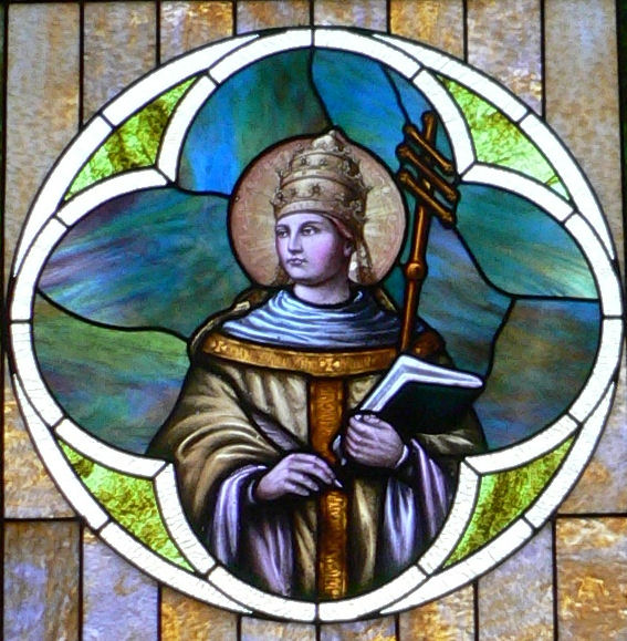Window depicting St. Gregory the Great in Saints Peter and Paul Church, Bow Valley, Nebraska.