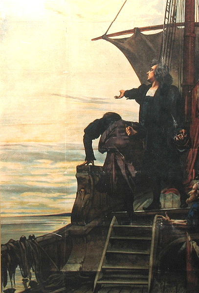 Columbus sees the New World for the first time.