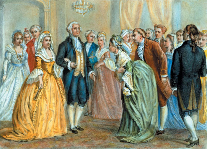A presidential reception in 1789, by Currier & Ives, c. 1876