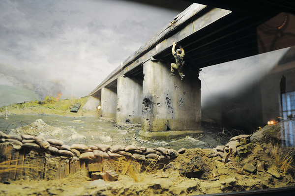 This Diorama, located in Bancroft Hall at the United States Naval Academy, dramatically illustrates Colonel Ripley's heroism during the destruction of the Dong Ha bridge.