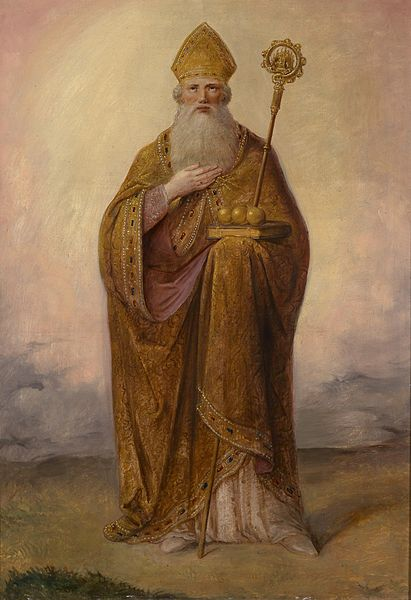St. Nicholas is often pictured with Three Gold Balls, which represents the gold given to provide dowries for the impoverished maidens.