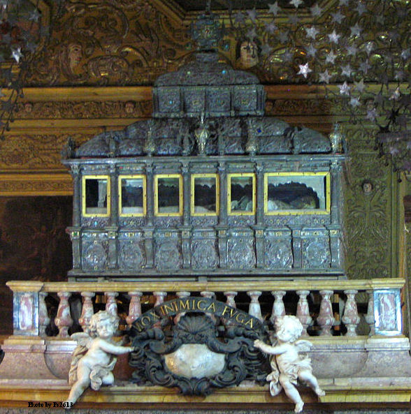 The incorrupt body of Saint Francis Xavier, in Goa, India.