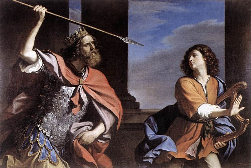 Saul Attacking David. Painting by Guercino