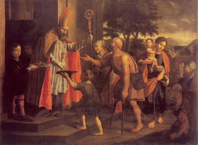 St. Nicholas giving alms to the poor and needy of his diocese.