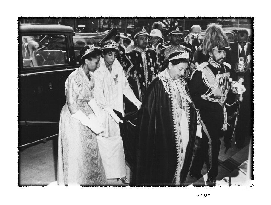 The Emperor and Empress arrive at the Cathedral of St. George to celebrate their Silver Jubilee The Empress is attended by her granddaughters, Princess Aida Desta and Princess Seble Desta.