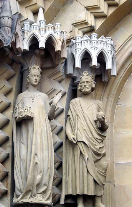 Statues of Saint Cunigunde of Luxembourg and her husband, St. Henry II, at the Cathedral of Bamberg, Germany.