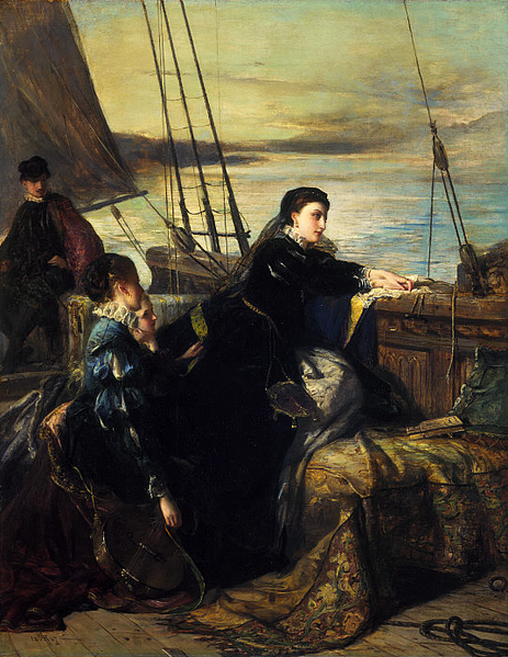 Mary Queen of Scots leaving France Painting by Robert Herdman