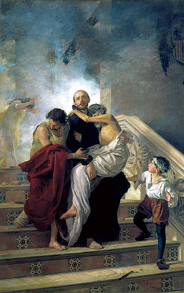 St. John of God saving people from a fire at the Royal Hospital. Painting by Manuel Gómez-Moreno González