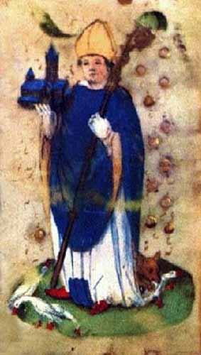 Illustration from an illuminated manuscript showing Saint Ludger.