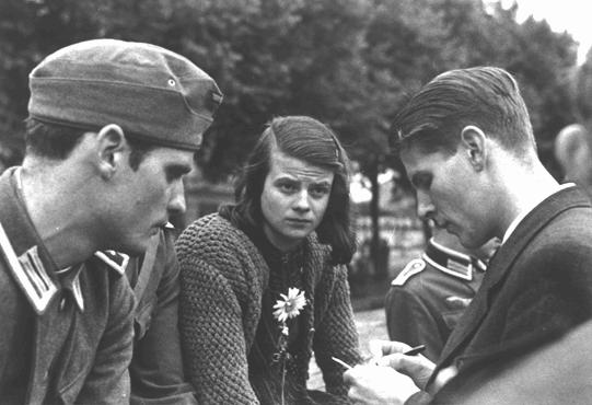 "Members of the White Rose, Munich 1942. From left: Hans Scholl, his sister Sophie Scholl, and Christoph Probst, all of them were declared ""enemies of the State"" and they were all beheaded immediately after their trial."
