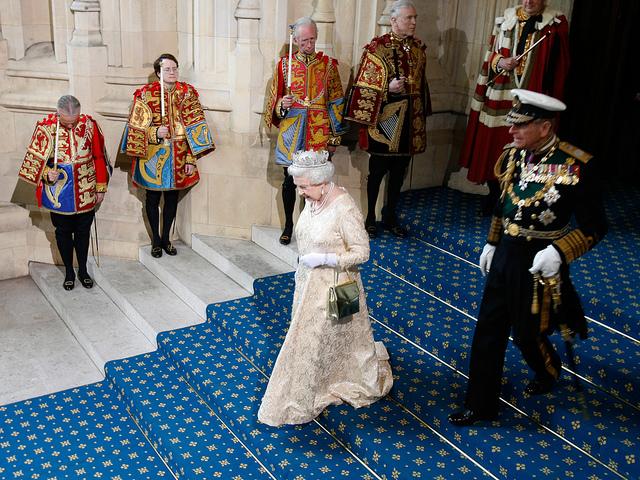 State Opening 2010: Leaving Parliament The Queen and Prince Philip descend the stairs leading from the House of Lords to Sovereign's Entrance, following the State Opening of Parliament. Photo by UK Parliament