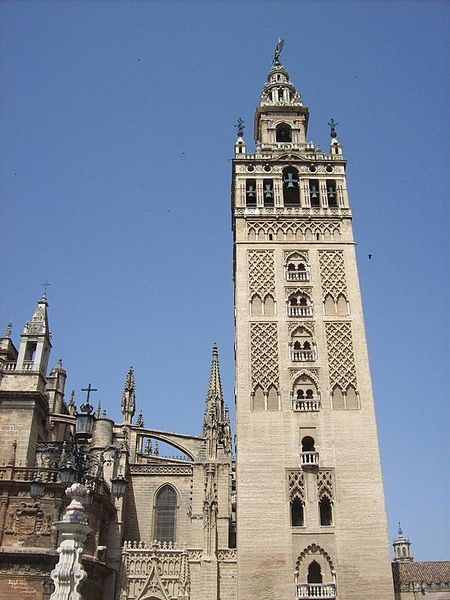 The Giralda in Seville, which is the bell tower for the Cathedral of Seville.