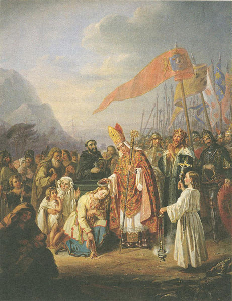 St. Henry, Bishop of Upsala, baptizes the Finns at the spring of Kuppis, close to Turku. The monarch pictured here is King Eric the Saint of Sweden. Painting by R.W. Ekman.