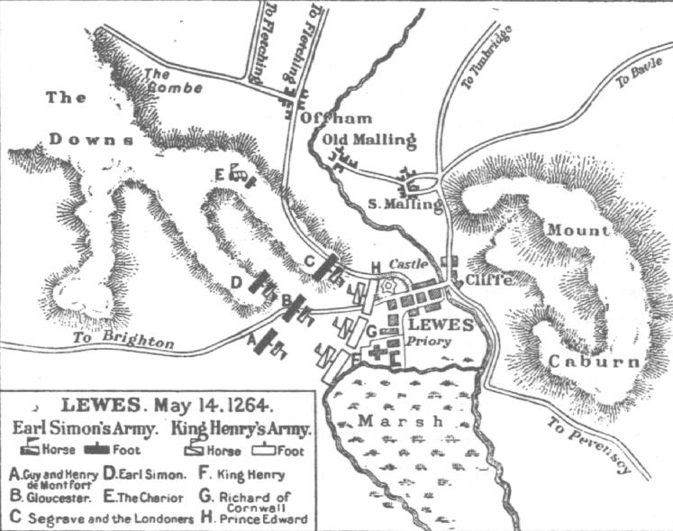 Plan of the Battle of Lewes from The Art of War in the Middle Ages by Sir Charles Oman, 1898.