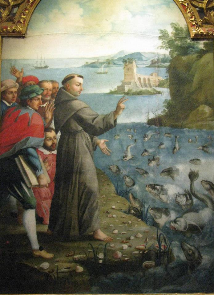 St. Anthony preaching to the fish. Men would not listen to him so he preached to the fish. As a result the town did indeed listen to him. Painting at the Convent of St. Francis, Quito, Ecuador.