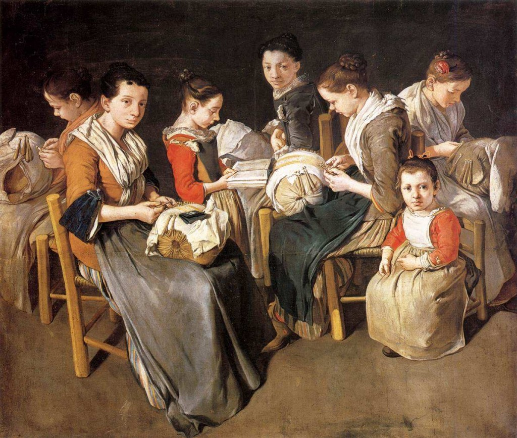 A Family of bobbin Lace makers by Giacomo Ceruti.