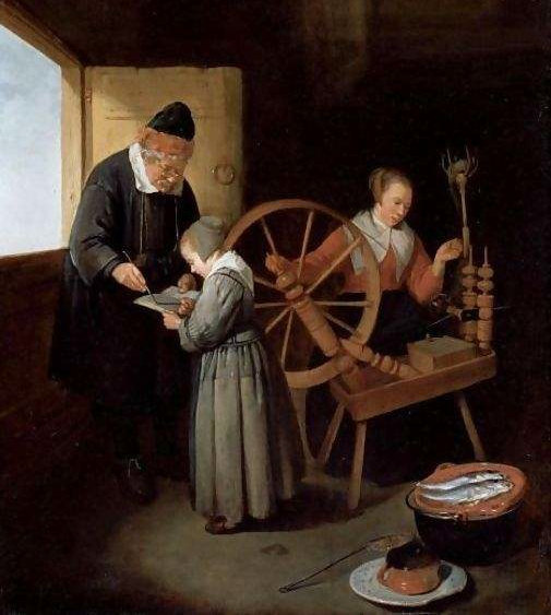 School Master Teaching A Young Girl To Read. Painting by Quiringh Gerritsz van Brekelenkam