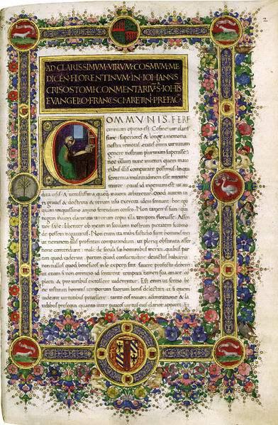 Opening words from St. John Chrysostom, Homiliae.