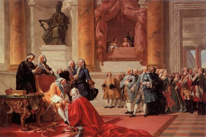 Chancellor Antoine Chaumont La Galaizière receives the homage of the First President of the Court of Lorraine in Nancy on March 21, 1737. Painting by François-André Vincent