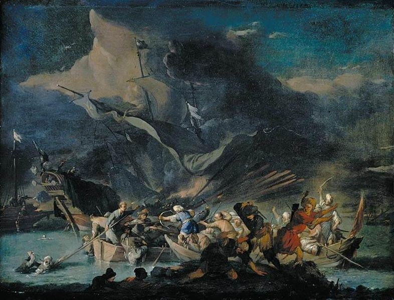 A Sea Battle painted by Johannes Lingelbach
