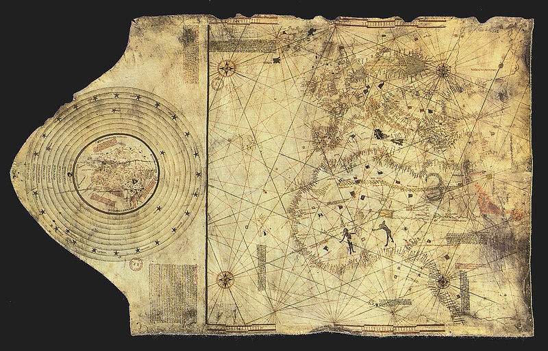 Map of the Atlantic Ocean, made by Columbus and his brother Bartolomeo, ca 1490
