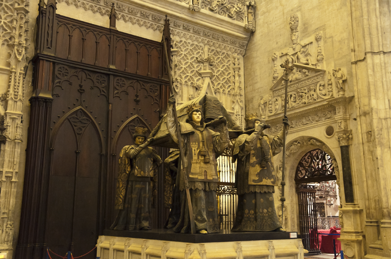 Photo of the tomb of Christopher Columbus at the cathedral of Seville, Spain, by Paul Hermans.
