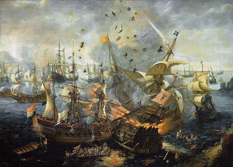 The explosion of the Spanish flagship during the Battle of Gibraltar, 25 April 1607.