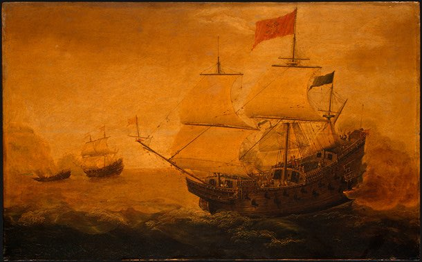 Spanish Galleon Firing its Cannon