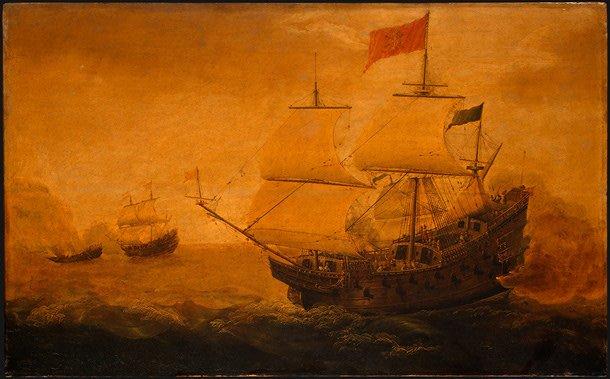 Spanish Galleon Firing its Cannon