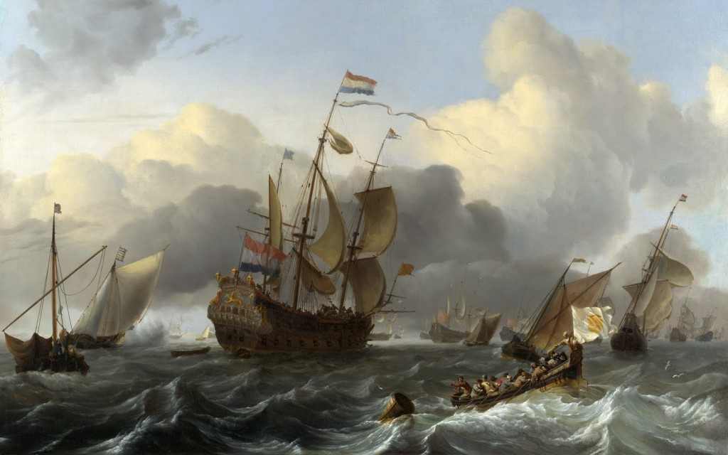 The Eendracht and a Fleet of Dutch Men-of-war, painting by Ludolf Bakhuizen.